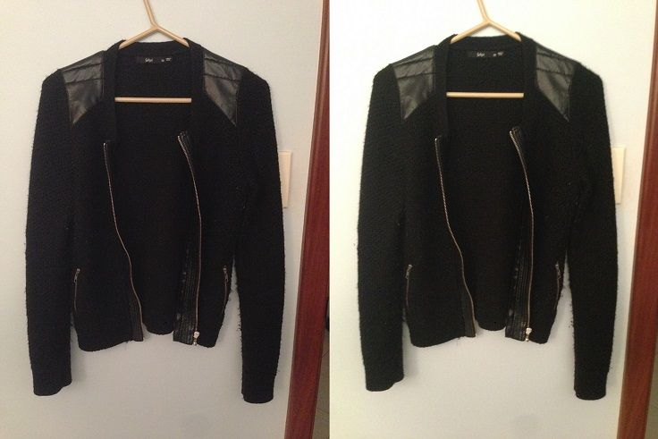 Fitted leather-based jacket (but not entirely leather)