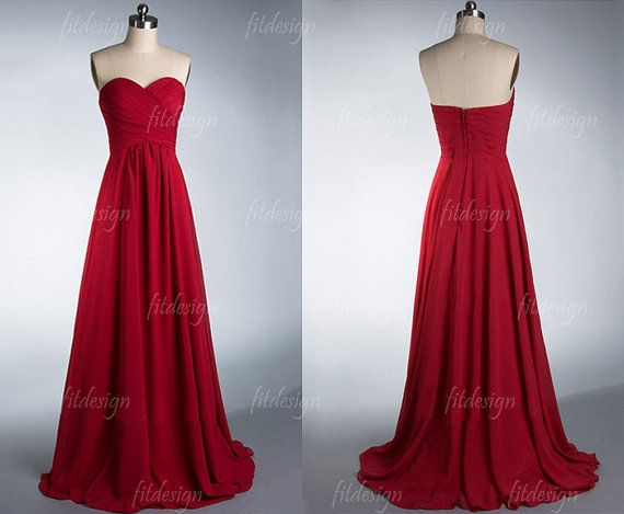 red bridesmaid dress long bridesmaid dress chiffon by fitdesign, $116.00