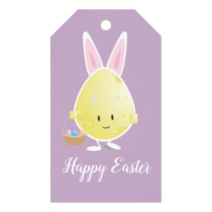 Easter Egg in Bunny Outfit | Gift Tags - happy easter egg holiday family diy custom personalize