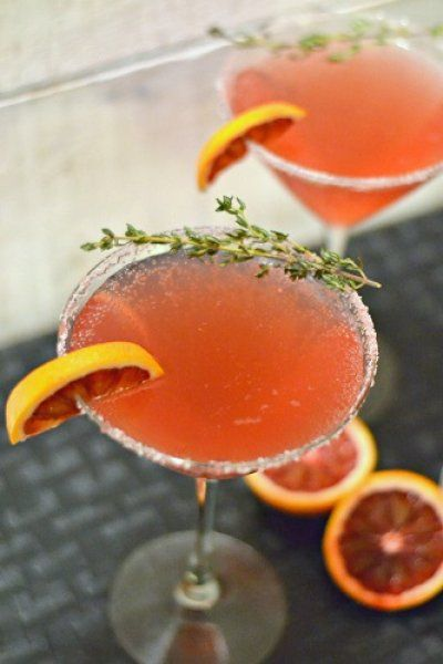 Our featured cocktail for the month: Blood Orange and Thyme Cocktail for Valentine's Day. The Grand Prize winning cocktail recipe by Singers Kitchen from our Blogger Recipe Challenge. Click for the recipe!