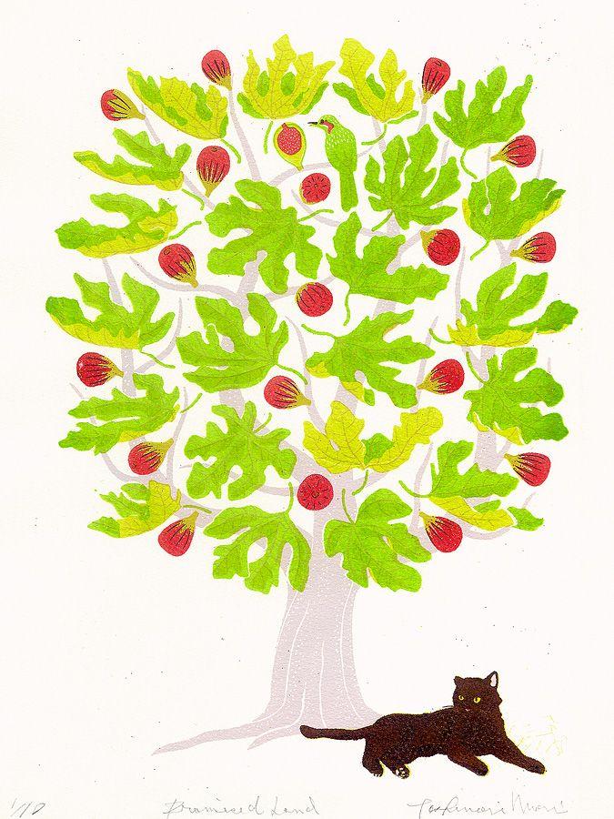 猫の版画作品 約束の地イラストレーター&版画家の『森...