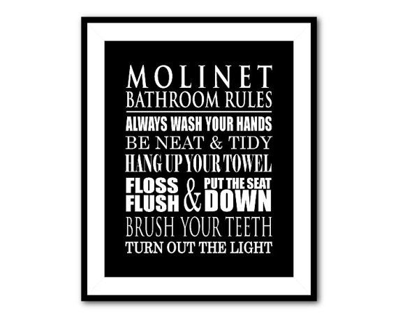 Personalized Bathroom Wall Art   Typography Art Print   Bathroom Rules Word  Art   Wash Hands