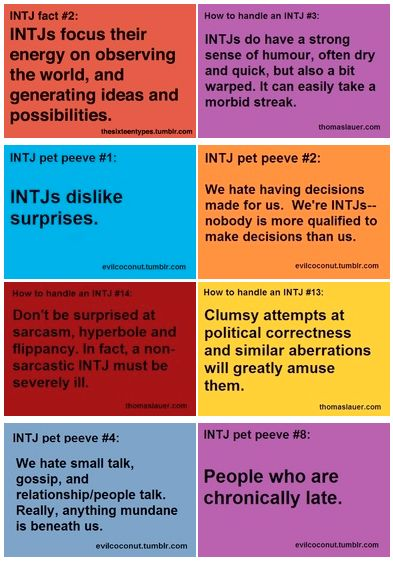 My INTJ (Introvert, Intuitive, Thinking, Judging) personality. All of this is true except #1. I like surprises. Sorta. From certain people, on certain days...in certain circumstances. bwahahaha.