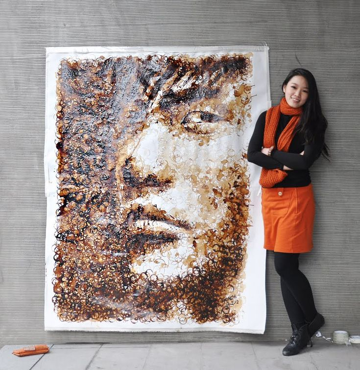 Coffee Stain Portrait by Red Hong