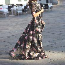 Платье богемный половина, лето длинная с круглым вырезом рукав женщины макси цветочный принт элегантный причинно платья Vestidos(China (Mainland))