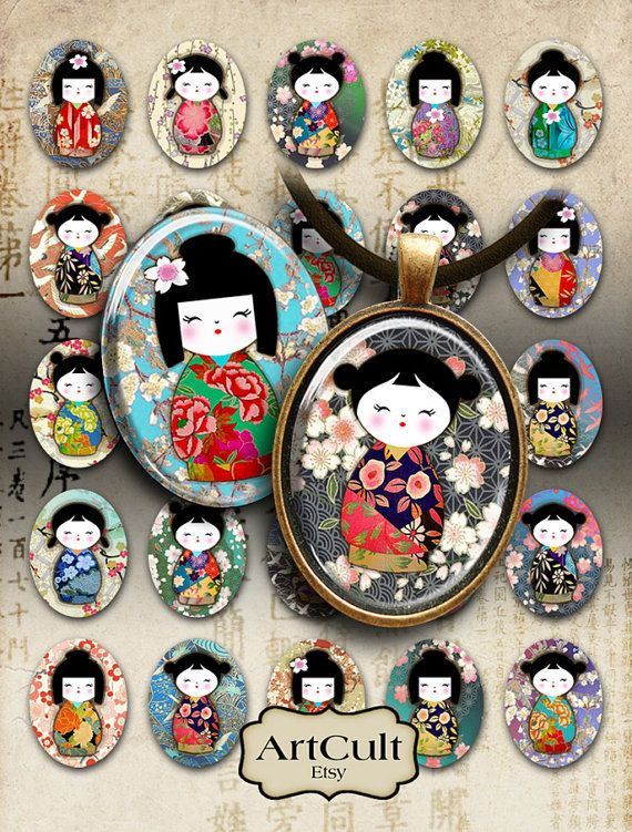 WASHI DOLLS OVALS - Printable 30x40 mm size Kokeshi images Digital Collage Sheet Download for pendants, magnets, bezel settings, cabochons