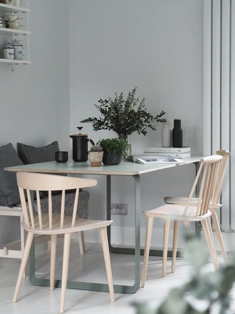 Muuto 70/70 table in green - modern Scandinavian design dining table - plants in the home