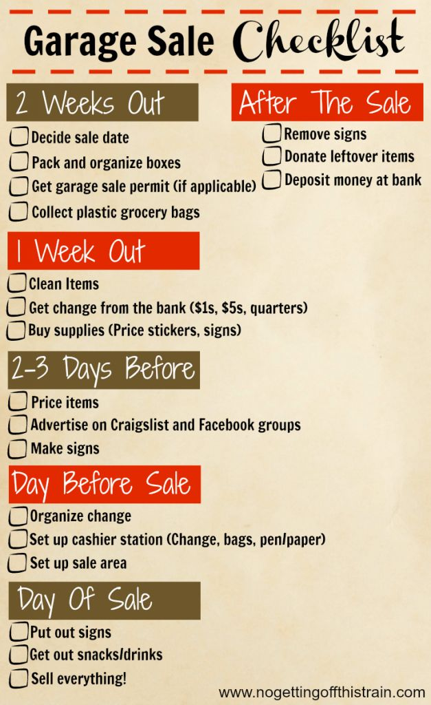 Here's a handy timeline checklist of what to do before, during, and after your garage sale! Click to read 24 tips for a more successful garage sale. www.nogettingoffthistrain.com