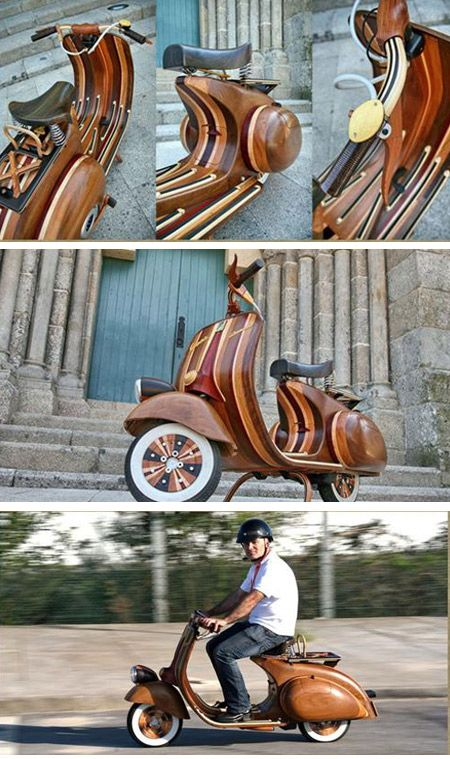 Carlos Alberto, a Portuguese craftsman, made this inspiring wooden Vespa by hand. Classic Vespa is one of the most gorgeous designs in history, and this is a really worthy remake.