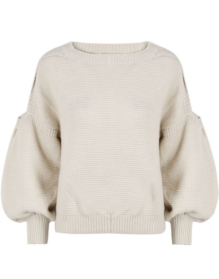 Apricot Cut Out Shoulder Puff Sleeve Sweater - Sheinside.com