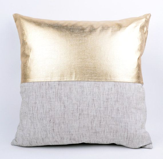 Sukan / Raw and gold pillow white and gold pillow by SukanPillows