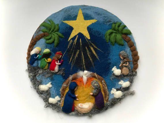 Círculo de Natividad imagen. Navidad. Aguja de fieltro.