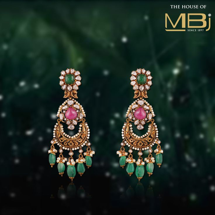 This pair of earrings by #TheHouseofMBj will bedazzle your attire with unmatched shine.#MBj #MBjIndia #Earrings #Beautifulearrings #Luxury #Jewellery #bridalcollection