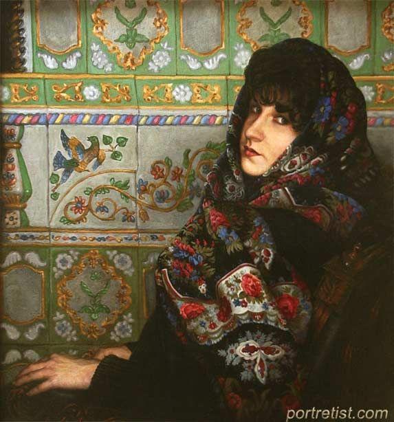 Woman`s portrain in the Russian shawl