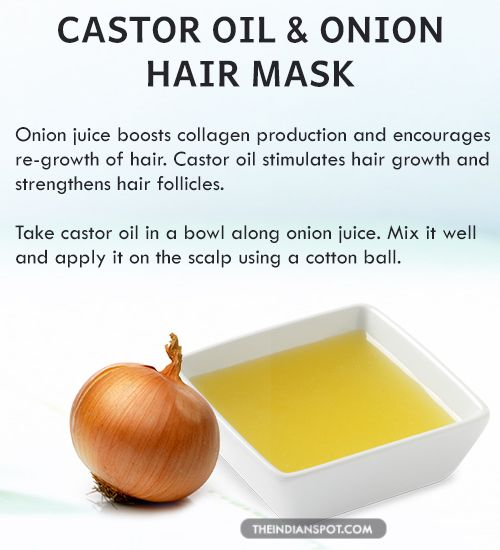 CASTOR OIL+ ONION JUICE A very effective yet simple home remedy for acquiring long hair is application of castor oil+ onion juice on the scalp. Onion juice i...