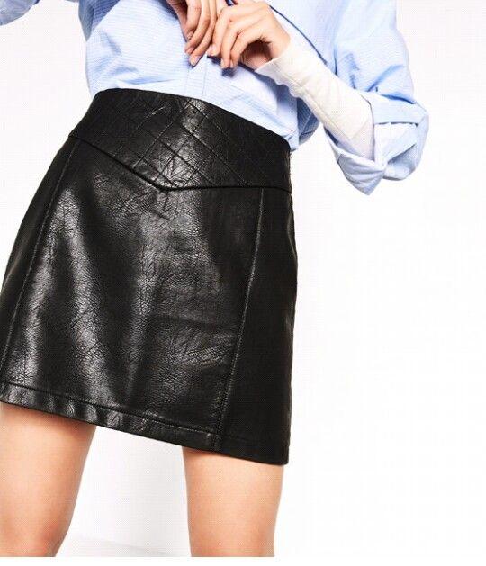 Quilted Mini Skirt by Zara. Pleather Skirt. Black Leather Mini Skirt.