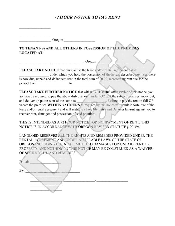 Sample Oregon Eviction Notice Form Template