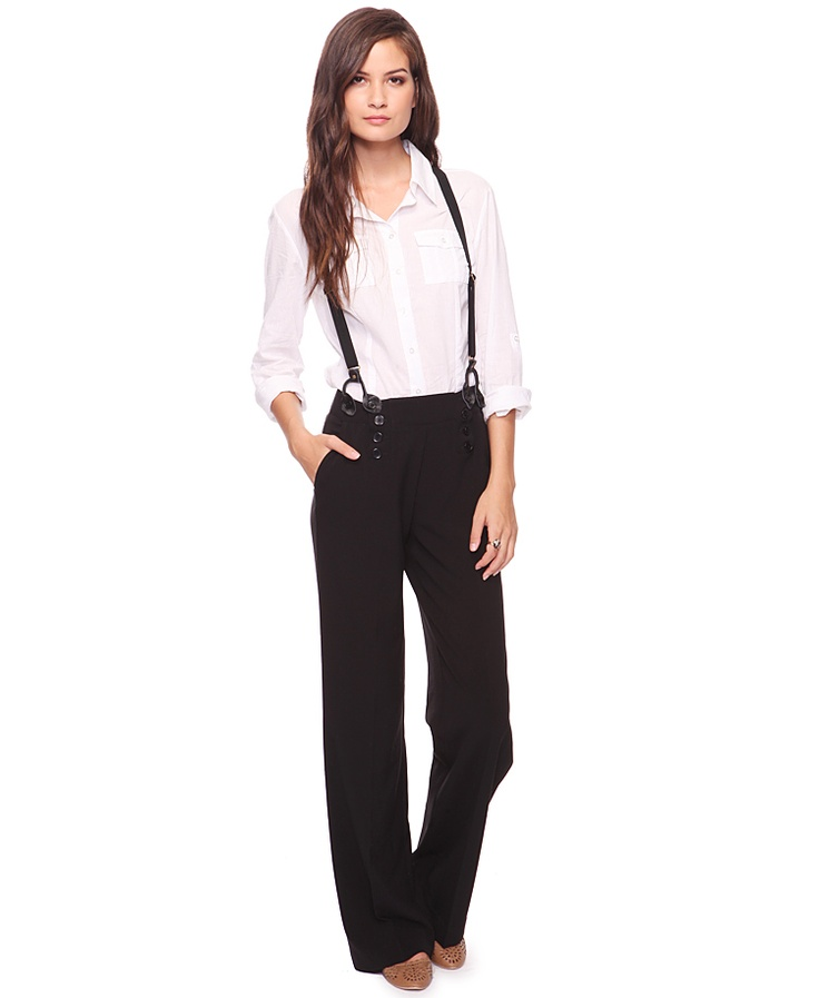 high waisted pants and suspenders...will try, but need ...
