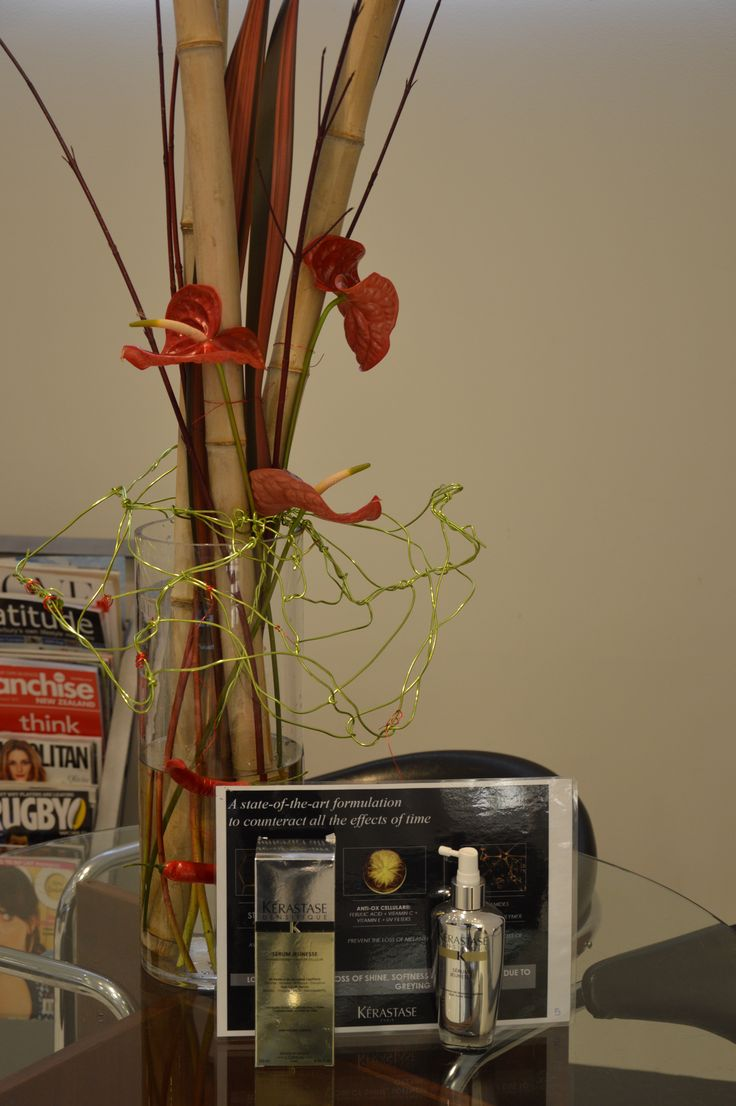 Bamboo, Red Anthuriums , Green Wire , Red Chillies, Cornus & Flax