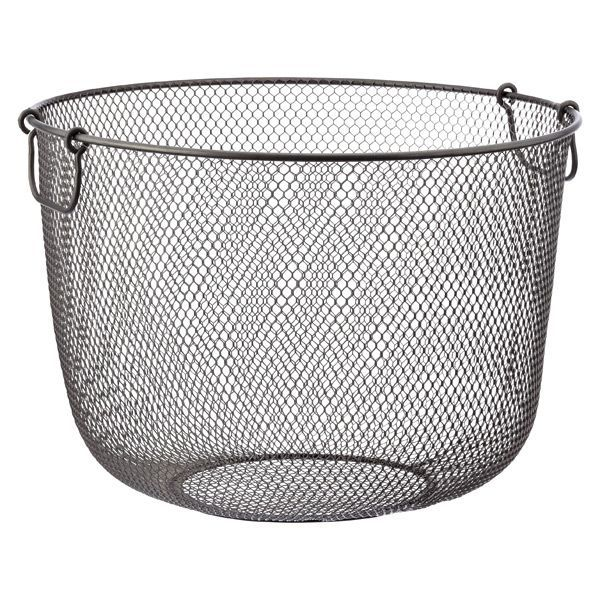 Industrial cool meets function in our Industrial Mesh Basket. The mesh weave is not only incredibly stylish, it provides airflow and ensures small items won't fall through. Use it in the laundry room for sorting, in the family room for pillows and throws or in the playroom for kids' toys.
