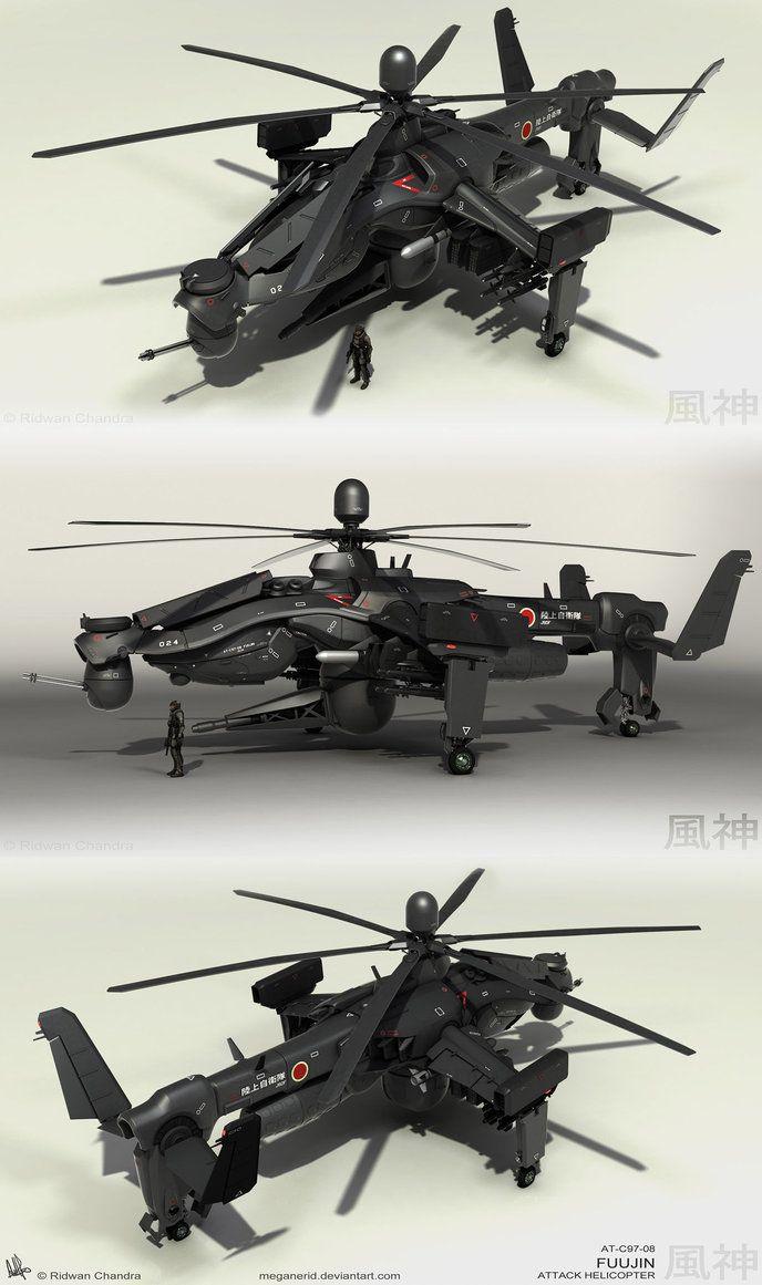 Fuujin Attack Helicopter Renders 2 by *MeganeRid on deviantART