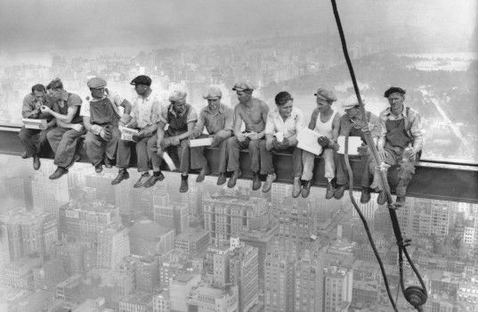 Lunch atop a Skyscraper (New York Construction Workers Lunching on a Crossbeam) is a famous grayscale photograph taken during construction of 30 Rockefeller Plaza in Manhattan, New York City, United States. 1932