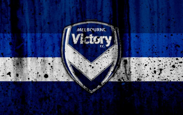 Download wallpapers 4k, FC Melbourne Victory, grunge, A-League, soccer, football club, Australia, Melbourne Victory, logo, stone texture, Melbourne Victory FC