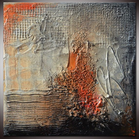 Small Abstract Textured Sculpted Original Painting by by Andrada, $125.00