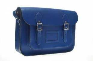 Blue Oxford Satchel A modern classic the Harrow Bag is handmade in the UK using the finest quality English leather with excellent craftmanship. The matching cable stitching, well structured bag, detachable handle, adjustable shoulder strap and dual buckles give it a perfect contemporary design twist.  13inches: Width 33cm * Height 23cm * Depth 7.5cm (with card holder)