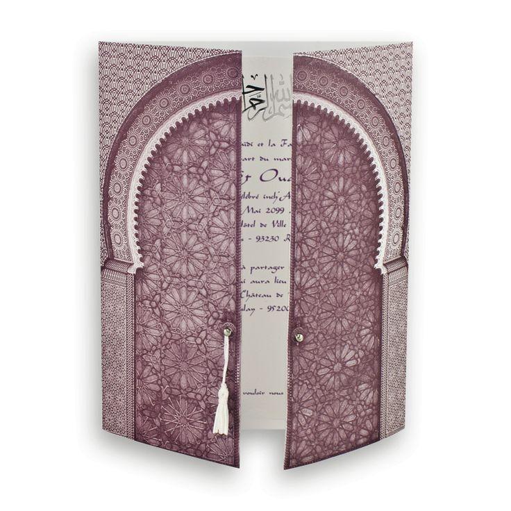 Faire-part mariage pour musulmans : Portes de l'Orient violine & Argent J0036
