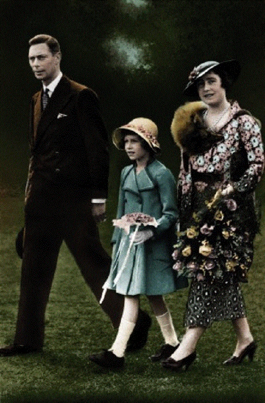 The Royal Family, after King George VI 's Coronation. Shows King George VI with the Queen Mother, and Queen Elizabeth (then H. R. H. The Princess Elizabeth):