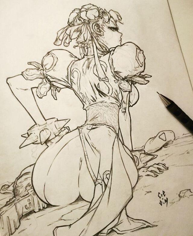 - Chun Li - Sketch. //Character ©CAPCOM //Image ©L.Gerchel / Cre.O.N  #chunli #streetfighter #capcom #lgerchel #creon