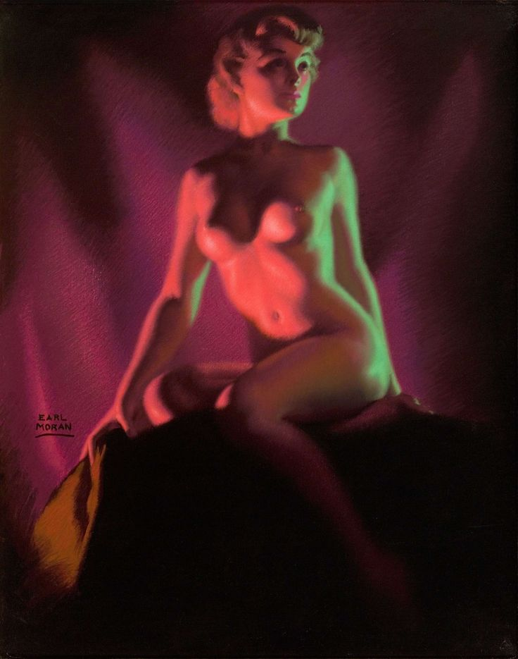 EARL MORAN EVENING GLOW PIN UP PASTEL ORIGINAL ART