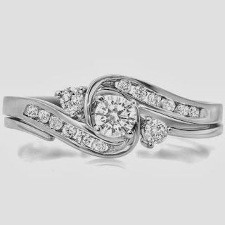0.50 Carat (ctw) 10k White Gold Round Diamond Ladies Swirl Bridal Engagement Ring Matching Band Set 1/2 CTStore Diamond Engagement RingDiamond Engagement Ring