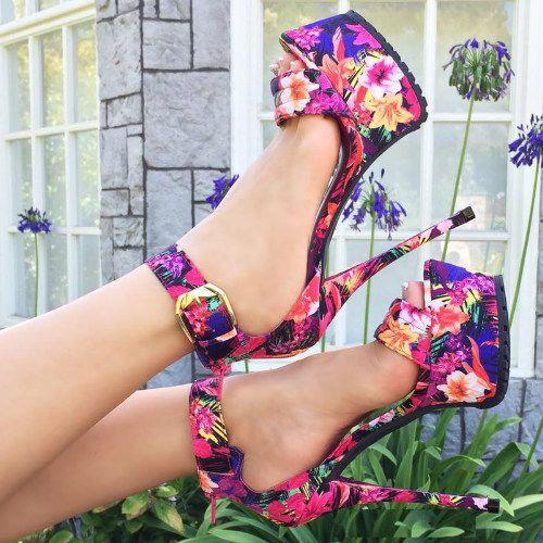 Multi Floral Platform 6 inch Heels