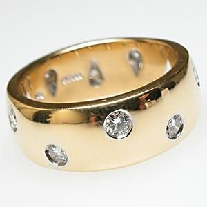 Tiffany & Co. Etoile Wide Band Diamond Ring Solid 18K Gold & Platinum