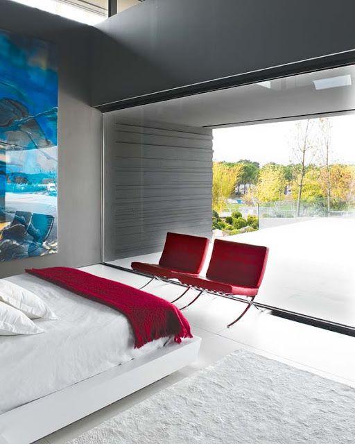 DORMITORIO MODERNO GRIS Y BLANCO : Dormitorios: Fotos de dormitorios Imágenes de habitaciones y recámaras, Diseño y Decoración