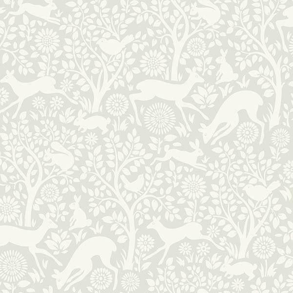Anahi Light Grey Forest Fauna Wallpaper HAS01232