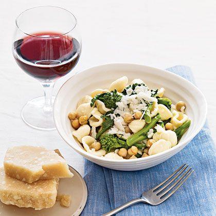 Orecchiette with chickpeas and broccoli rabe.