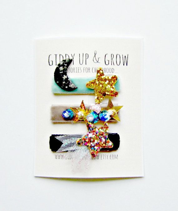 Tiny Snap Clips Celestial Elements Baby Hair by giddyupandgrow