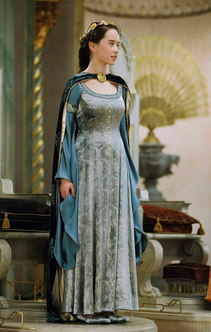 A satin and brocade gown with a velvet cape worn by Susan Pevensie during her coronation in The Chronicles of Narnia: The Lion, the Witch, and the Wardrobe.