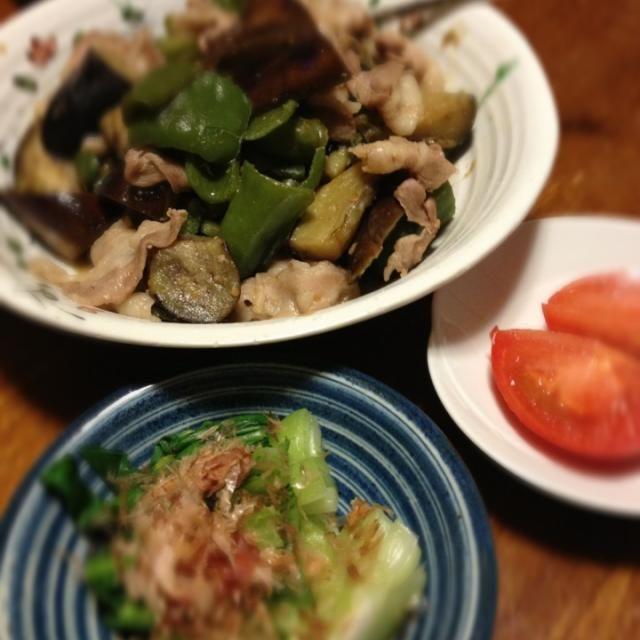 本日休肝日。 - 7件のもぐもぐ - ナスとピーマン味噌炒め、青梗菜お浸し、トマト by raku0dar
