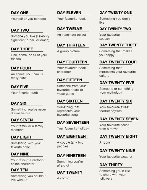 Best 25 30 day challenge list ideas on pinterest for Drawing ideas list