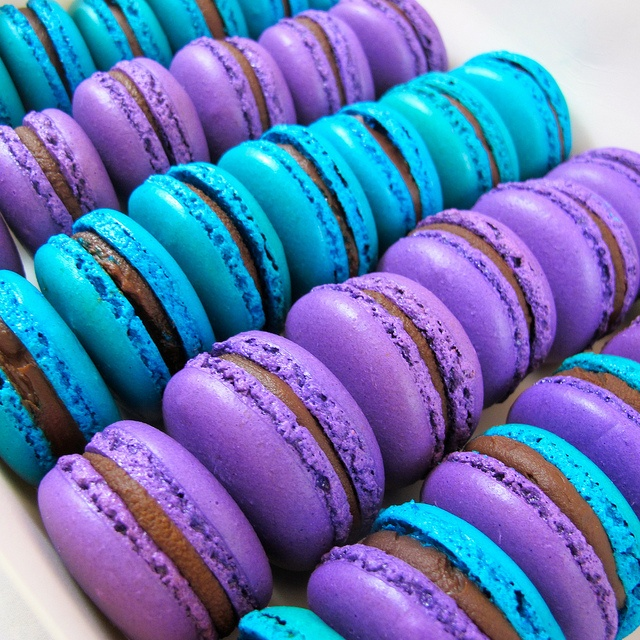 Purple and blue dark chocolate Marcarons by Divine Sweets and Cakes by Grace Healey, via Flickr