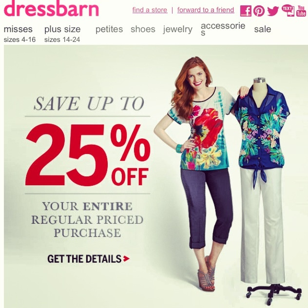 Deal Alert (US): Dressbarn  Save Up To 25% Off Your Regular Price Purchase. Happy Shopping! #deal #alert #dressbarn #purchase #shopping #sale #fashion #women