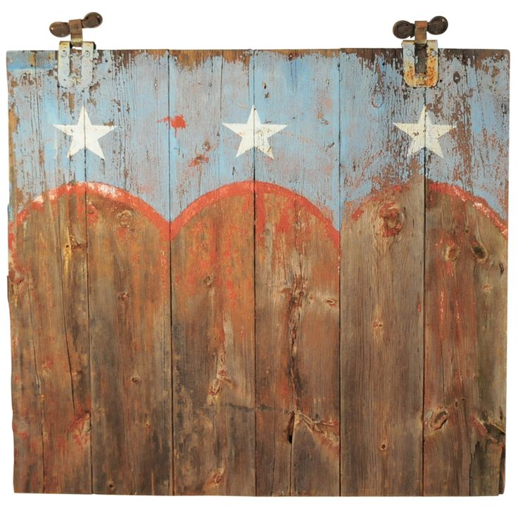 19th C Bucks County PA Weathered Patriotic Painted American Flag Farm Barn Door