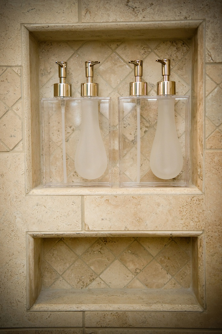 Captivating Soap U0026 Shampoo Shower Niche With Shampoo Dispensers I Think These Are Much  Better Than Mismatched Bottles