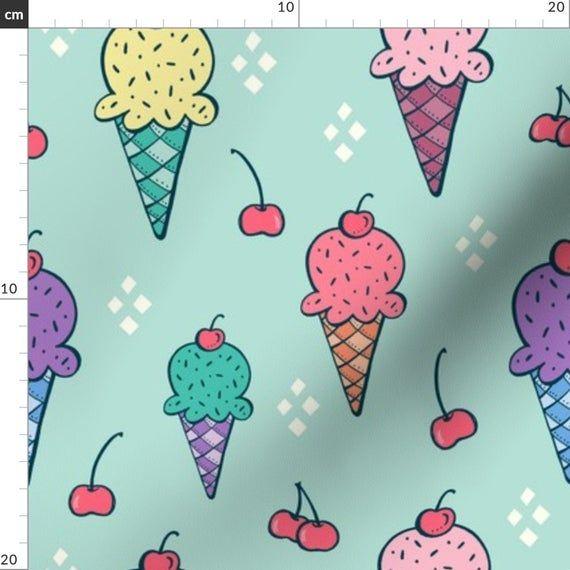 Eis + Kirschen Stoff – Ice Cream 3 von Jaymehennel – Summer Sweet Treat Co …   – Products