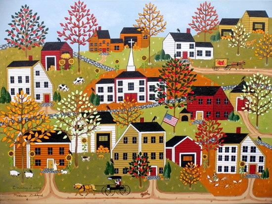 Folk Art print by Medana Gabbard titled by MedanaGabbardGallery. , via Etsy.