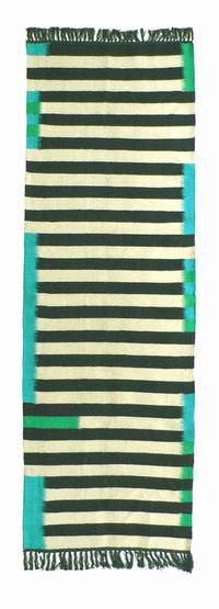 Danish rug runner white and black stripes with turquoise $415 for 2.3 x 7.2